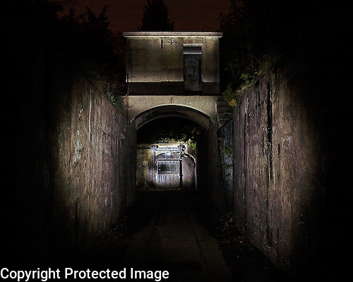 Fine art night photography.  The entrance to Mortar Battery Sandy Hook, New Jersey.  Limited edition Fine Art Print printed to conservation standards.