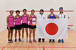 -R) Philippines team group (PHI), Japan team group (JPN), <br /> AUGUST 27, 2018 - Squash : Women's team Pool A match between Japan - Philippines at Gelora Bung Karno Squash Stadium during the 2018 Jakarta Palembang Asian Games in Jakarta, Indonesia. <br /> (Photo by MATSUO.K/AFLO SPORT)