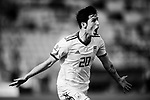 (EDITORS NOTE: This image has been converted into black and white.) Sardar Azmoun of Iran celebrates scoring the team's first goal during the AFC Asian Cup UAE 2019 Group D match between Vietnam (VIE) and I.R. Iran (IRN) at Al Nahyan Stadium on 12 January 2019 in Abu Dhabi, United Arab Emirates. Photo by Marcio Rodrigo Machado / Power Sport Images