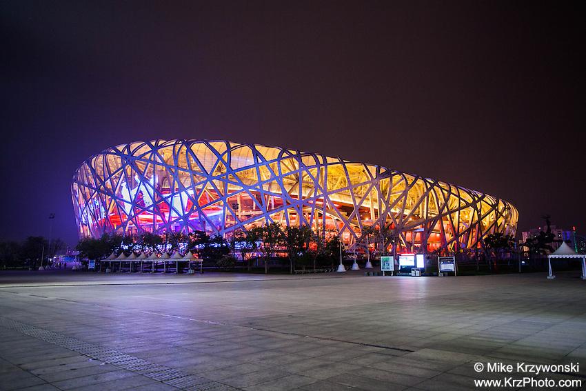 """Beijing National Stadium (a.k.a. """"Bird's Nest"""") at night, Beijing, China"""