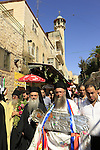 Israel, Jerusalem, the Greek Orthodox Assumption Day Procession at the Via Dolorosa
