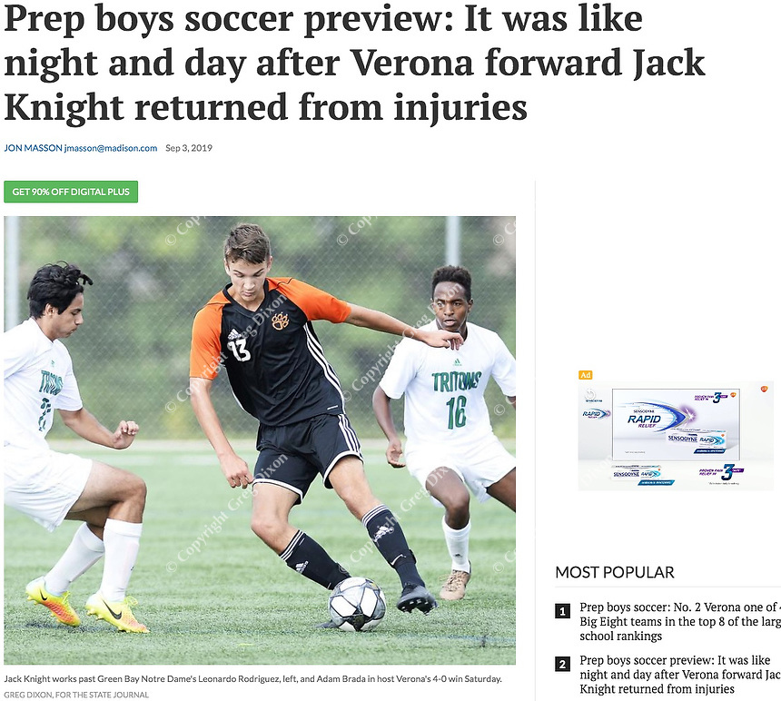 Verona's Jack Knight (13) works past Green Bay Notre Dame's Leonardo Rodriguez (left) and Adam Brada (16), as Verona tops Green Bay Notre Dame 4-0 on Saturday, 8/31/19, in boys high school soccer at Reddan Soccer Park in Verona, Wisconsin   Wisconsin State Journal article page C8 Sports 9/4/19 and online at https://madison.com/wsj/sports/high-school/soccer/prep-boys-soccer-preview-it-was-like-night-and-day/article_e17668ab-cffa-5fbd-acc5-2be4a54c82a7.html