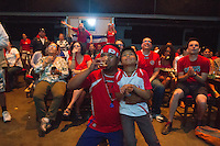Oakland, CA - Sunday, June 29, 2014: A group of a few hundred Costa Ricans watch the round of 16 World Cup match against Greece at the New Parkway theater in Oakland.