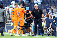Newcastle United manager Steve Bruce shakes hands with every one of his players at the final whistle during Tottenham Hotspur vs Newcastle United, Premier League Football at Tottenham Hotspur Stadium on 25th August 2019