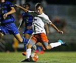11 September 2015: Virginia's Jake Rozhansky scores a goal. The Duke University Blue Devils hosted the University of Virginia Cavaliers at Koskinen Stadium in Durham, NC in a 2015 NCAA Division I Men's Soccer match. The game ended in a 2-2 tie after overtime.