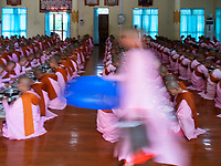 Hundreds of Buddhist Nuns study at the Tha Kya Thida nunnery in Sagaing, Mandalay, Myanmar