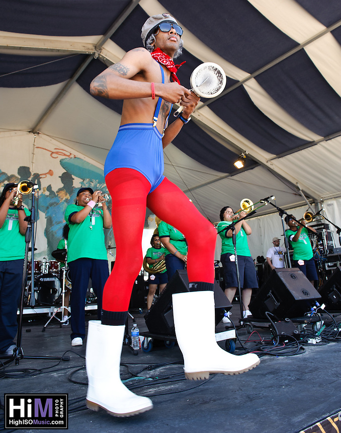 Pinette's Brass Band playing at Jazz Fest 2011 in New Orleans, LA on day 5.