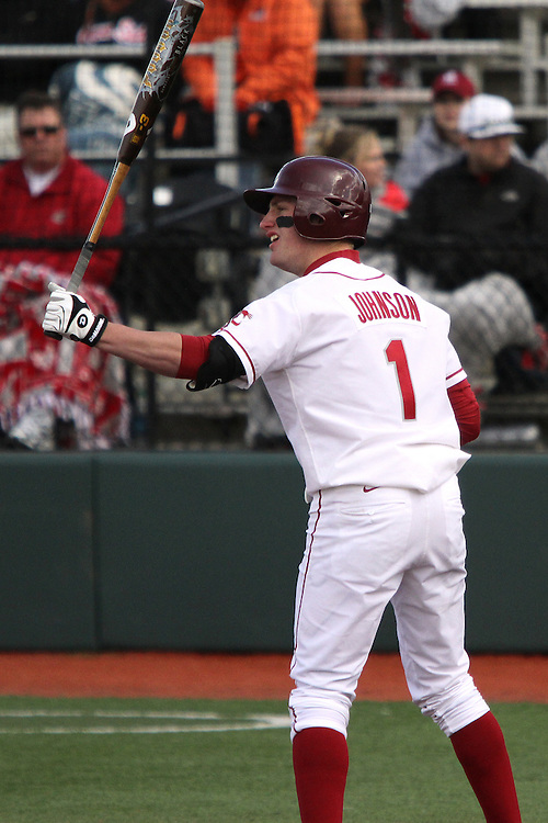 Washington State outfielder, Kyle Johnson (#1), prepares to hit during the Cougars Pac-10 conference baseball game against Oregon State at Bailey-Brayton Field in Pullman, Washington, on April 24, 2010.