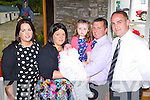 Tiarna Brid Falvey, Milltown who celebrated her christening with her parents Donal and Mairead big sister Eloisha, god parents Nicola Murphy and Mike Falvey and extended family in Kate Kearney's Cottage on Sunday