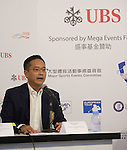 Kenneth Lam, Captain of Hong Kong Golf club, speaks at a press conference on the sidelines of UBS Hong Kong Open golf tournament at the Fanling golf course on 25 October 2015 in Hong Kong, China. Photo by Aitor Alcalde / Power Sport Images