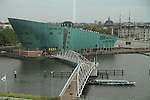 Nemo Museum and Oosterdok seen from the library, Amsterdam, Netherlands