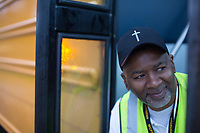 Johnny Crudup (CQ), a full-time substitute bus driver for Wake County poses for a portrait in Raleigh, NC on Friday, March 31, 2017. (Justin Cook for The Wall Street Journal)<br /> <br /> BUSES Summary<br /> A shortage of school bus drivers is forcing one of North Carolina&rsquo;s largest school districts to consider starting class as early as 7:10 a.m. and as late as 9:15 a.m. this fall, to give the limited number of drivers time to do three or more runs each morning.
