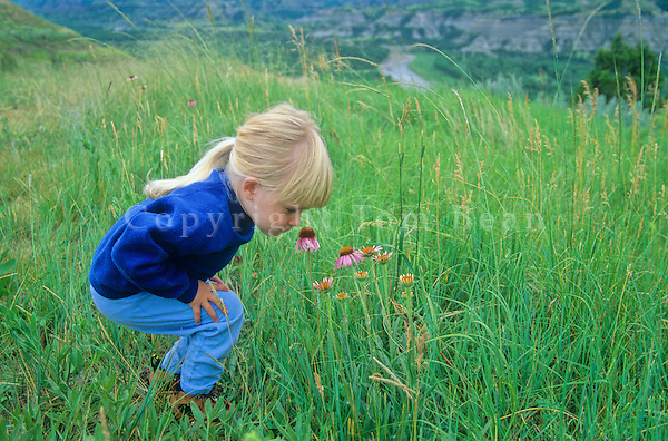 Child smelling coneflowers at Theodore Roosevelt National Park, North Unit, North Dakota, AGPix_0372.