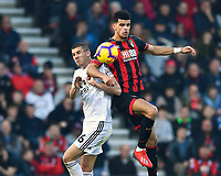 Dominic Solanke of AFC Bournemouth and Conor Coady of Wolverhampton Wanderers vie for a header  during AFC Bournemouth vs Wolverhampton Wanderers, Premier League Football at the Vitality Stadium on 23rd February 2019