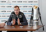 Al Kellock with the Pro12 trophy won by Glasgow Warriors at a press conference at Scotstoun this afternoon