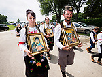 Procession with the relics of St. Mardarije of Libertyville around St. Sava Church after the Patriarchal Divine Liturgy service with His Holiness Irinej to venerate and glorify the relics of St. Mardarije of Libertyville, St. Sava Monastery Church<br /> <br /> #NGMWADiocese<br /> #GlorificationStMardarije, #Chicago, #PatriarchIrinej, #MetropolitanAmphiloije<br /> #SerbianOrthodoxChurch<br /> #www.stsavamonastery.org