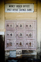 Rustic old Post Office Boxes on the wall at Bainham Store in Golden Bay, South Island, New Zealand - stock photo, canvas, fine art print