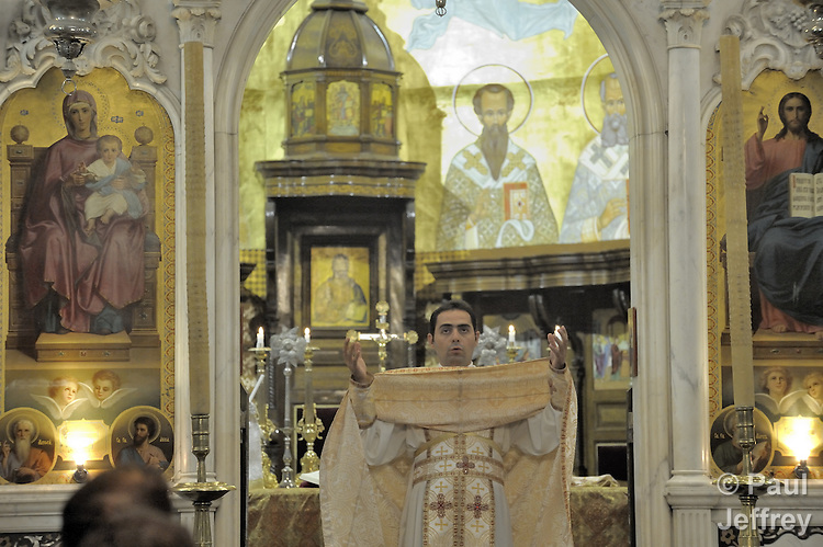 The celebration of Mass in St. Paul's Melkite Greek Catholic Church in Damascus, Syria.