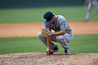 Pitcher Nate Harris (14) of the Asheville Tourists in a game against the Greenville Drive on Sunday, June 3, 2018, at Fluor Field at the West End in Greenville, South Carolina. Greenville won, 7-6. (Tom Priddy/Four Seam Images)