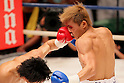 (L to R) Hiroto Fukuhara, Shuhei Tsuchiya, AUGUST 10, 2011 - Boxing : Hiroto Fukuhara hits Shuhei Tsuchiya during the light weight bout at Korakuen Hall, Tokyo, Japan. Shuhei Tsuchiya won by TKO after the fight was stopped in the ninth round. (Photo by Yusuke Nakanishi/AFLO) [1090]