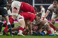 Twickenham, Surrey. UK.  Gareth DAVIES, collects the  from the break down, during the Six Nations Rugby Match, England vs Wales RFU Stadium, Twickenham. Surrey, England. on Saturday 10.02.18<br /> <br /> <br /> [Mandatory Credit Peter SPURRIER/Intersport Images]