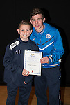 St Johnstone FC Academy Awards Night...06.04.15  Perth Concert Hall<br /> Craig Thomson presents a certificate to Ewan Loudon<br /> Picture by Graeme Hart.<br /> Copyright Perthshire Picture Agency<br /> Tel: 01738 623350  Mobile: 07990 594431