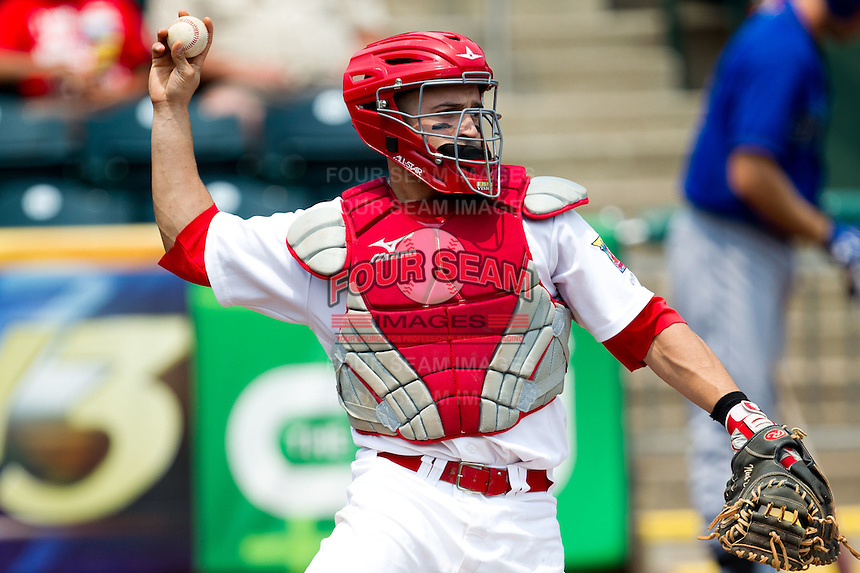Nick Derba (16) of the Springfield Cardinals throws a ball back to the pitcher during a game against the Tulsa Drillers at Hammons Field on June 27, 2011 in Springfield, Missouri. (David Welker / Four Seam Images)