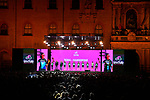Bora-Hansgrohe on stage at the Teams Presentation held in Piazza Maggiore Bologna before the start of the 2019 Giro d'Italia, Bologna, Italy. 9th May 2019.<br /> Picture: Massimo Paolone/LaPresse | Cyclefile<br /> <br /> All photos usage must carry mandatory copyright credit (&copy; Cyclefile | Massimo Paolone/LaPresse)