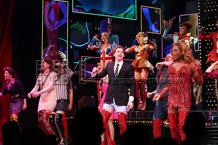 Celina Carvajal, Stark Sands & Billy Porter with Cast during the Broadway Opening Night Performance Curtain Call for 'Kinky Boots' at the Al Hirschfeld Theatre in New York City on 4/3/2013