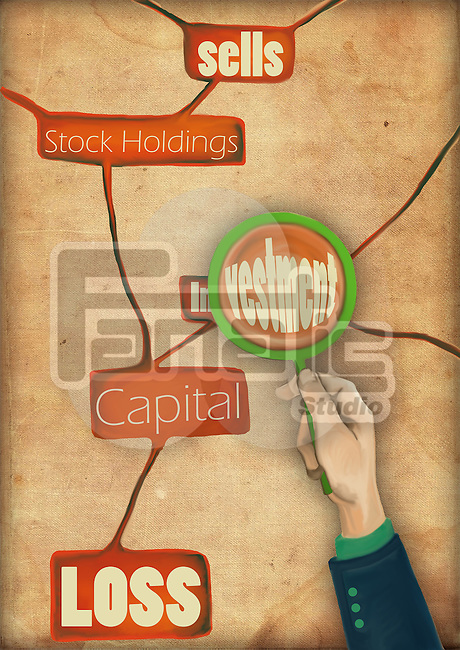 Conceptual illustration of magnifying glass over investment
