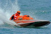 "E-102 ""Tijuana Taxi"", 280 class hydroplane..10-12 July, 2009, 100th Gold Cup, Detroit River, Detroit, MI USA..©2009 F.Peirce Williams, USA."