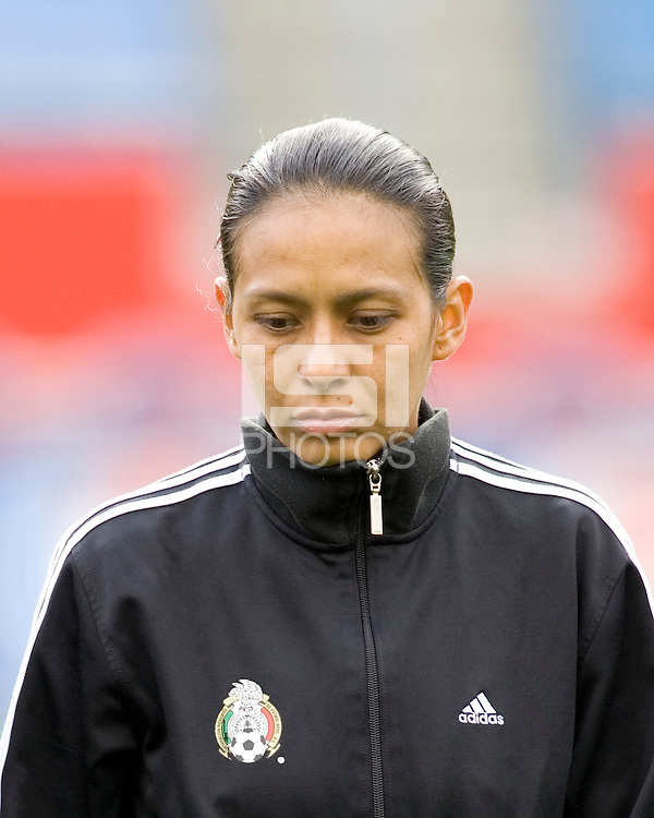 Mexico's Evelyn Lopez during the team presentation. USA women's national team defeated Mexico 5-0 at Gillette Stadium in Foxborough MA on April 14, 2007