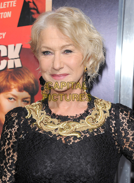 "Helen Mirren.""Hitchcock"" Los Angeles Premiere held at the AMPAS Samuel Goldwyn Theater, Beverly Hills, California, USA.  .November 20th, 2012.headshot portrait black gold embroidered collar dangling earrings lace .CAP/RKE/DVS.©DVS/RockinExposures/Capital Pictures."