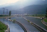 - AEM (Municipal Energetic Company of Milan) hydroelectric power station of Grosotto, of 1910 year, compensation basin....- centrale  idroelettrica AEM (Azienda Energetica Municipale di Milano) di Grosotto, risalente al 1910, vasche di compensazione (Sondrio, Valtellina)