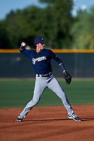 AZL Brewers Blue shortstop Cam Devanney (2) throws to first base during an Arizona League game against the AZL Royals at Surprise Stadium on June 18, 2019 in Surprise, Arizona. AZL Royals defeated AZL Brewers Blue 12-7. (Zachary Lucy/Four Seam Images)