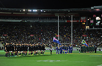 The teams line up before the Rugby Championship match between the New Zealand All Blacks and South Africa Springboks at Westpac Stadium in Wellington, New Zealand on Saturday, 15 September 2018. Photo: Dave Lintott / lintottphoto.co.nz