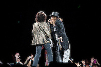 Steven Tyler and Joe Perry of Aerosmith in concert at The Palace Of Auburn Hills in Auburn Hills, Michigan. July 5, 2012. Credit: MediaPunch Inc. *NORTEPHOTO.COM*<br />