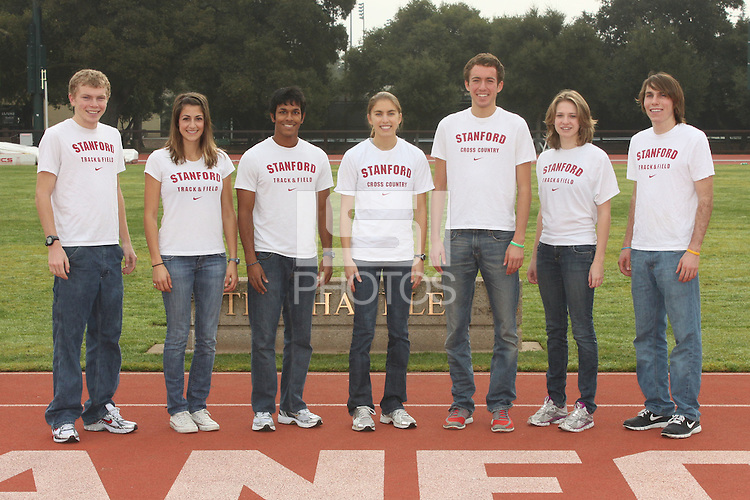 STANFORD, CA - JANUARY 9:  All-Americans Jacob Riley, Whitney Liehr, Zach Chandy, Alexandra Gits, Chris Derrick, Mia Lattanzi, and Elliott Heath of the Stanford Cardinal during track and field picture day on January 9, 2009 at the Arrillaga Center for Sports and Recreation in Stanford, California.