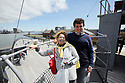 Spanish tourists Jaime Humeau poses with his mum Julia Del Castillo on the bridge of HMS Caroline, Wednesday July 3rd, 2019. (Photo by Paul McErlane for the Belfast Telegraph)
