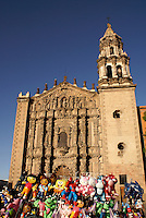 Balloons in front of the Templo del Carmen church in the city of San Luis de Potosi, Mexico