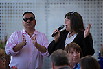 """RGJ Media Executive Editor Kelly Ann Scott, right, introduces Food and Drink Editor Johnathan L. Wright during the """"Reno Taste"""" launch party  Tuesday, June 13, 2017 on the terrace of Campo Reno."""