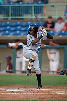 Hudson Valley Renegades Luis Arcendo (13) at bat during a NY-Penn League game against the Mahoning Valley Scrappers on July 15, 2019 at Eastwood Field in Niles, Ohio.  Mahoning Valley defeated Hudson Valley 6-5.  (Mike Janes/Four Seam Images)