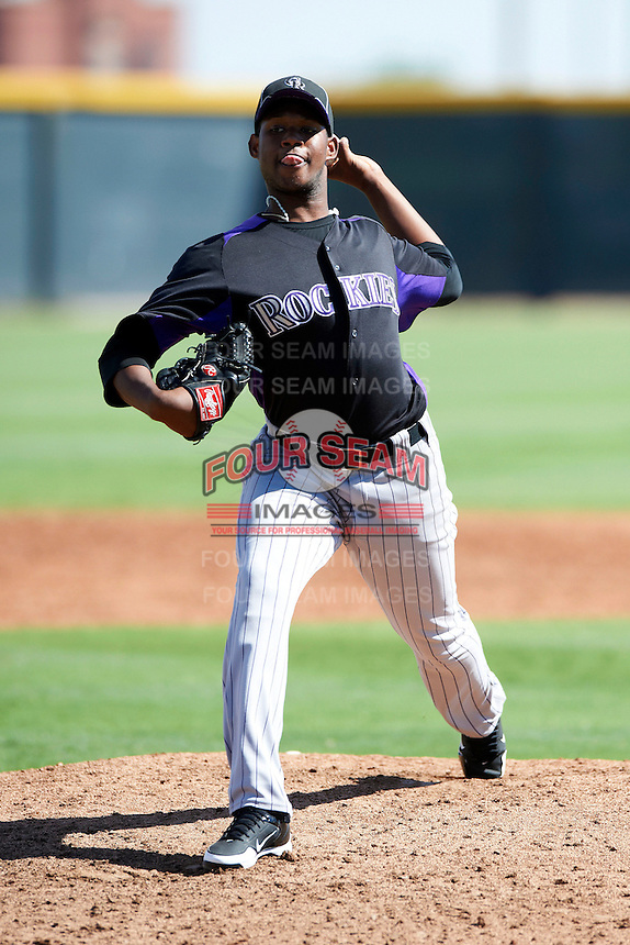 Colorado Rockies minor league pitcher Jayson Aquino #63 during an instructional league intrasquad game at the Salt River Flats Complex on October 5, 2012 in Scottsdale, Arizona.  (Mike Janes/Four Seam Images)