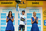 Simon Yates (GBR) Orica-Scott retains the White Jersey at the end of Stage 9 of the 104th edition of the Tour de France 2017, running 181.5km from Nantua to Chambery, France. 9th July 2017.<br /> Picture: ASO/Pauline Ballet | Cyclefile<br /> <br /> <br /> All photos usage must carry mandatory copyright credit (&copy; Cyclefile | ASO/Pauline Ballet)