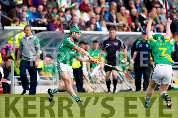 Mikey Boyle (Captain) Ballyduff in action against Conor O'Keeffe Lixnaw in the Senior County Hurling Final in Austin Stack Park on Sunday