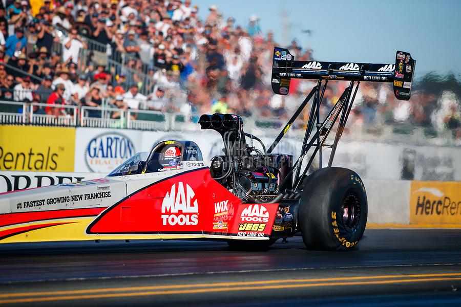 Jul 28, 2017; Sonoma, CA, USA; NHRA top fuel driver Doug Kalitta during qualifying for the Sonoma Nationals at Sonoma Raceway. Mandatory Credit: Mark J. Rebilas-USA TODAY Sports