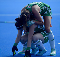 Ireland's Shirley McCay emotional after her team getting into the final with team mates<br /> <br /> Photographer Hannah Fountain/CameraSport<br /> <br /> Vitality Hockey Women's World Cup - Ireland v Spain - Saturday 4th August 2018 - Lee Valley Hockey and Tennis Centre - Stratford<br /> <br /> World Copyright &copy; 2018 CameraSport. All rights reserved. 43 Linden Ave. Countesthorpe. Leicester. England. LE8 5PG - Tel: +44 (0) 116 277 4147 - admin@camerasport.com - www.camerasport.com