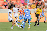 Houston, TX - Saturday July 16, 2016: Meleana Shim, Denise O'Sullivan, Rachel Daly during a regular season National Women's Soccer League (NWSL) match between the Houston Dash and the Portland Thorns FC at BBVA Compass Stadium.