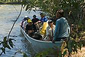 Mato Grosso State, Brazil. Aldeia Metuktire. Boat with the Breu Branco team.