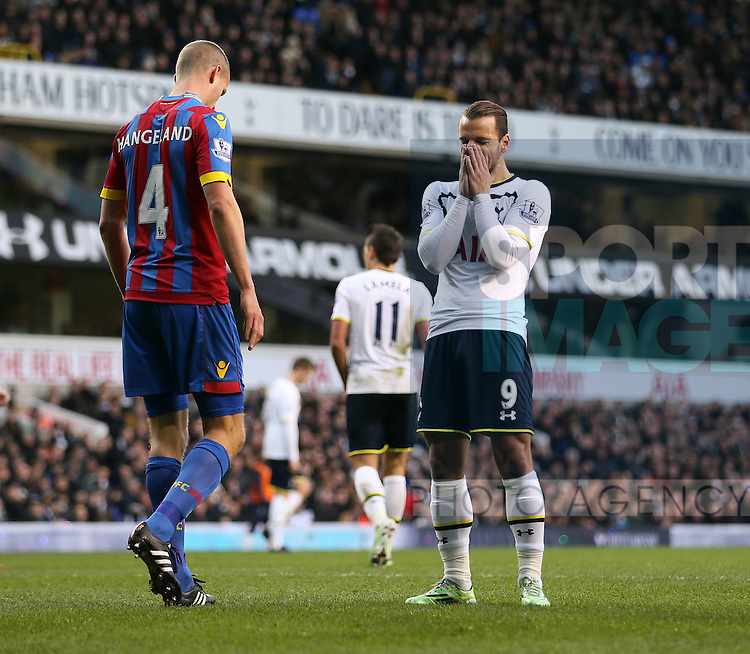 Tottenham's Roberto Soldado looks on dejected after a missed chance<br /> <br /> Barclays Premier League- Tottenham Hotspur vs Crystal Palace - White Hart Lane - England - 6th December 2014 - Picture David Klein/Sportimage